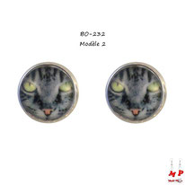Boucles d'oreilles puces rondes à têtes de chats gris
