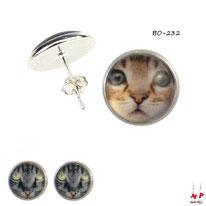 Boucles d'oreilles puces rondes à têtes de chats grises ou brunes