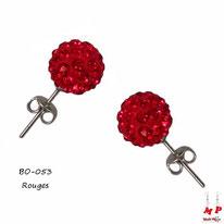 Boucles d'oreilles perles rondes shamballa rouges