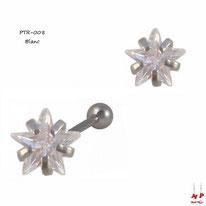 Piercing tragus et cartilage à strass en étoile blanc cristal et barre en acier chirurgical