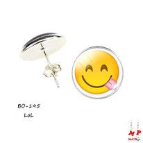 Boucles d'oreilles puces rondes emoji émoticônes smiley lol tire la langue
