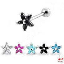 Piercings tragus ou cartilage fleur disponibles en 6 couleurs