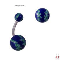 Piercing nombril boules acryliques à balles de baseball vertes et bleues