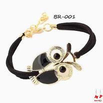 Bracelet hibou noir