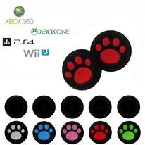 Grips de protection noirs en silicone à pattes de chiens pour joystick de consoles xbox, playstation et wii u