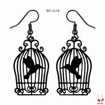 Boucles d'oreilles pendantes cages à oiseaux noires