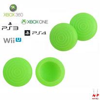 Paire de grips de protection verts fluos à ronds en silicone pour joysticks de PS3, PS4, Xbox 360, Xbox One et Nintendo Wii U