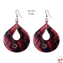 Boucles d'oreilles pendantes ovales motifs plumes de paons rouges
