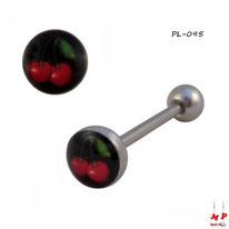 Piercing langue logo cerise rouge sur fond noir en acier chirurgical