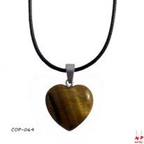 Collier à pendentif coeur en pierre d'oeil de tigre et son cordon ciré noir