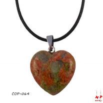 Collier à pendentif coeur en pierre d'unakite