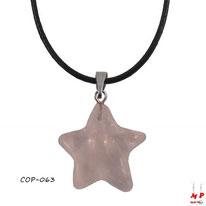 Collier à pendentif éotile en pierre de quartz rose