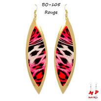 Boucles d'oreilles pendantes ovales dorées et rouges tachetées