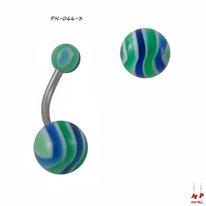 Piercing nombril à boules acryliques zébrées bleues et vertes