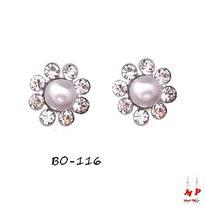 Boucles d'oreilles fleurs serties de strass et perles nacrées
