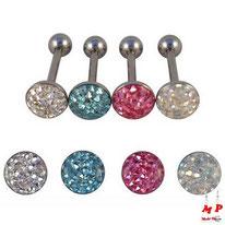 Piercing langue boule plate multi strass sous dôme 4 couleurs