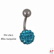 Piercing nombril shamballa bleu turquoise