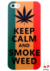 Coque rigide pour iPhone 5/5s modèle rasta feuille de cannabis et keep calm