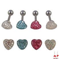 Piercing langue boule coeur strass sous dôme 4 couleurs