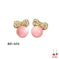Boucles d'oreilles noeuds papillons dorés et boules roses