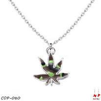 Collier à pendentif feuille de cannabis treillis militaire et sa chaine argentée
