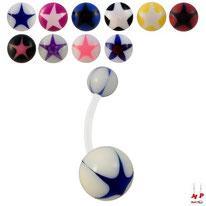 Piercings nombrils bioflex boules acryliques à étoiles