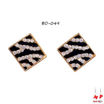 Boucles d'oreilles carrées zébrées dorées et noires serties de strass