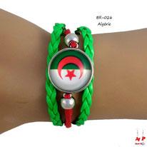 Bracelet rouge et vert à drapeau de l'Algérie en similicuir