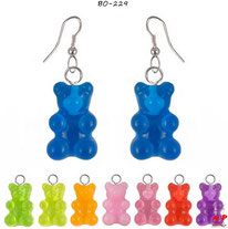 Boucles d'oreilles mignonnes à oursons en acrylique 8 couleurs