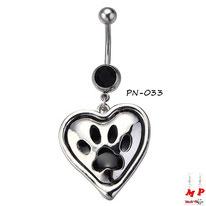 Piercing nombril à strass noir et son pendentif coeur incrusté d'une empreinte de patte de chien noire