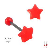 Piercing langue à boule étoile rouge en acrylique