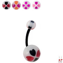 Piercing nombril bioflex ballon de basket rouge et noir