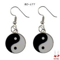 Boucles d'oreilles pendantes argentées Yin Yang