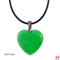 Collier à pendentif coeur en pierre d'agate verte