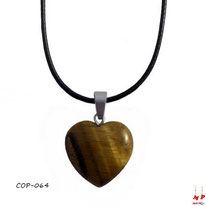 Collier à pendentif coeur en pierre oeil de tigre