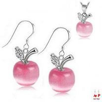 Parure boucles d'oreilles pendantes et collier à pendentif pomme rose opale