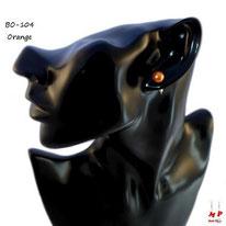 Boucles d'oreilles perles nacrées oranges 7mm