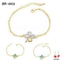Bracelets trèfles à quatre feuilles dorés et strass 3 couleurs