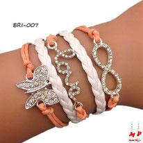 Bracelet infini saumon en similicuir avec love et papillon en strass