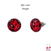 Boucles d'oreilles puces rondes rouges léopards tachetées