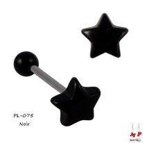 Piercing langue étoile noire en acrylique