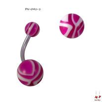 Piercing nombril à boules acryliques zébrées magenta et blanches