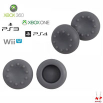Paire de grips de protection gris en silicone pour joysticks de PS3, PS4, Xbox 360, Xbox One et Nintendo Wii U