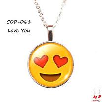 Collier à pendentif emoji émoticône love you coeurs rouges