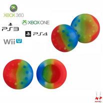 Paire de grips de protection multicolores en silicone pour joysticks de PS3, PS4, Xbox 360, Xbox One et Nintendo Wii U