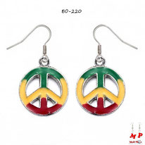 Boucles d'oreilles pendantes rondes modèle Peace and Love rasta