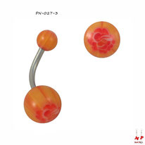 Piercing nombril à boules acryliques oranges et fleurs rouges