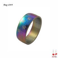 Bague anneau arc-en-ciel à empreintes de pattes de chiens en acier inoxydable