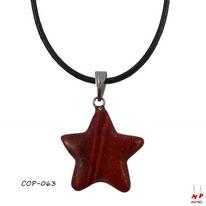 Collier à pendentif étoile en pierre de jaspe rouge et son cordon ciré noir