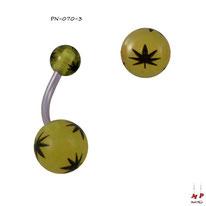 Piercing nombril à boules acryliques jaunes et feuilles de cannabis noires